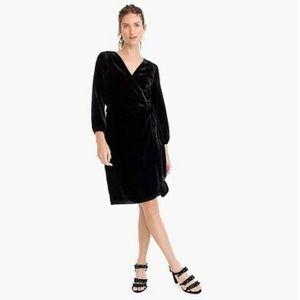 ✨NWT✨ J. Crew black velvet wrap dress. Size 10.